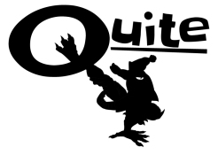 "A minimalist version of the logo using the company's name, ""Quite""."