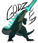 Godzilla illustration for a movie review