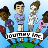 "Early logo designed for the game ""Journey Inc."""