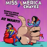 Mock cover of a Ms. Marvel/Miss America team-up book