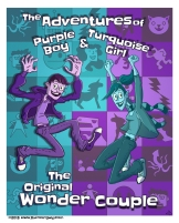 """Illustration for my comic """"Purple Boy and Turquoise Girl"""""""